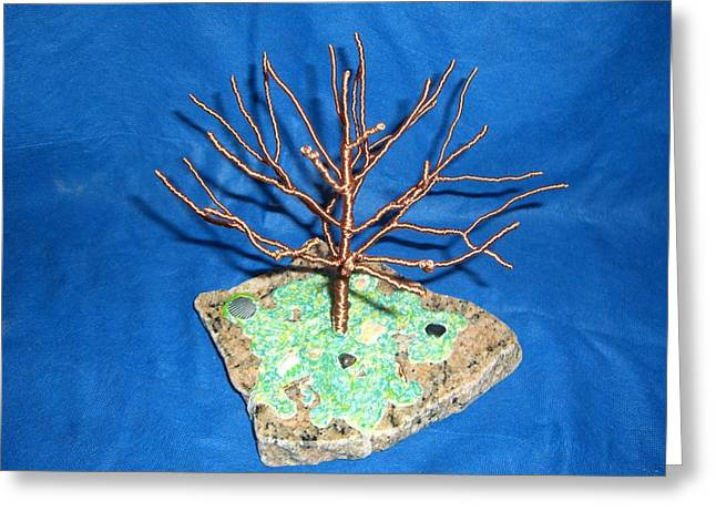 Granite Sculptures Greeting Cards - 24 gauge copper Wire Tree by the Beach Greeting Card by Serendipity Pastiche