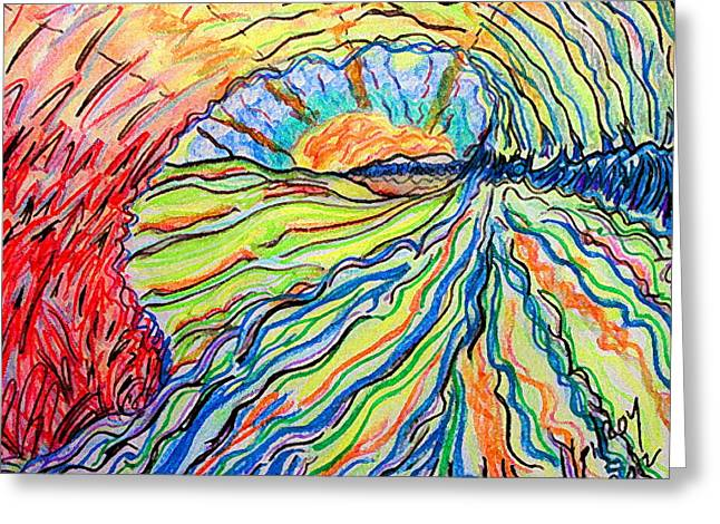 Waves Pastels Greeting Cards - Surfart Greeting Card by W Gilroy
