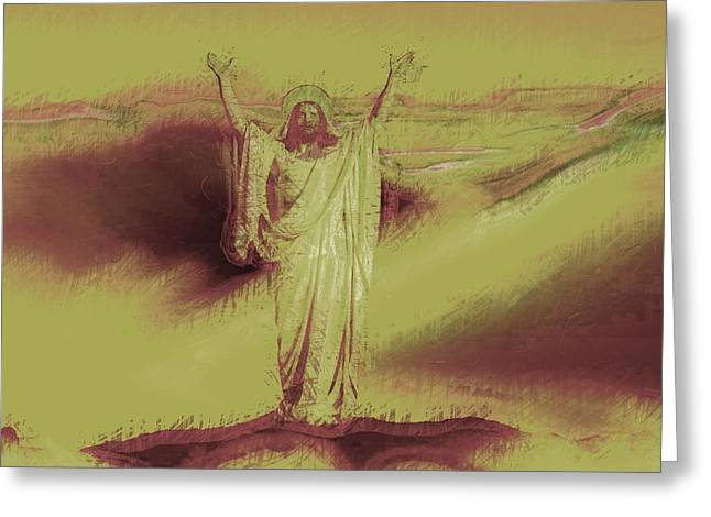 Savior Greeting Cards - Jesus Christ - Religious Art Greeting Card by Elena Kosvincheva