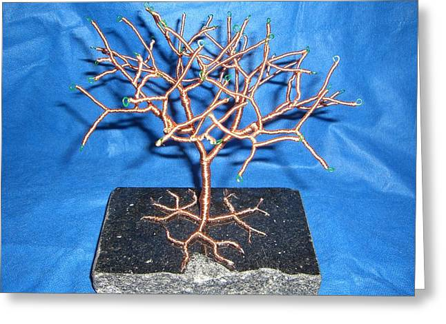Granite Sculptures Greeting Cards - 24g copper Wire Tree on a Black Marble or Granite Slab Greeting Card by Serendipity Pastiche