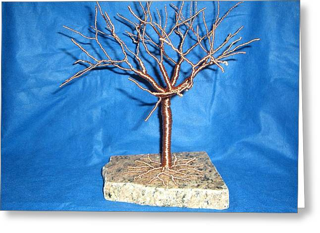 Granite Sculptures Greeting Cards - 24g copper Wire Tree on a Gray and Black Marble Greeting Card by Serendipity Pastiche