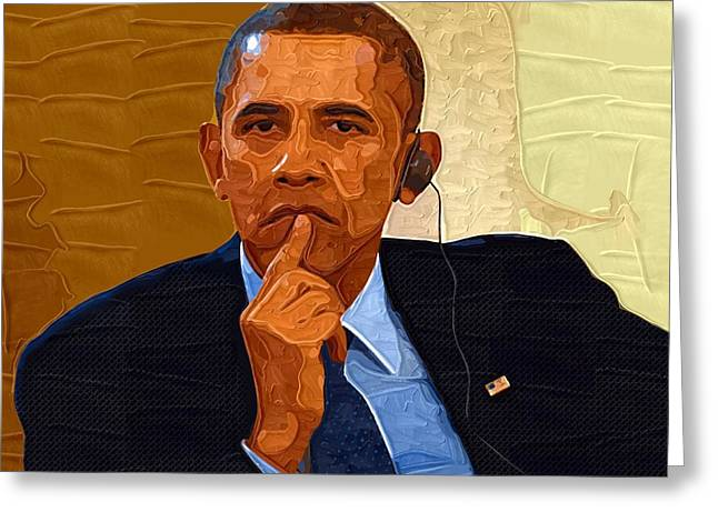 Obama Portrait Greeting Cards - Barack Obama Portrait Greeting Card by Victor Gladkiy