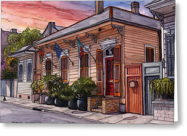 25  French Quarter House With 3 Flags Greeting Card by John Boles