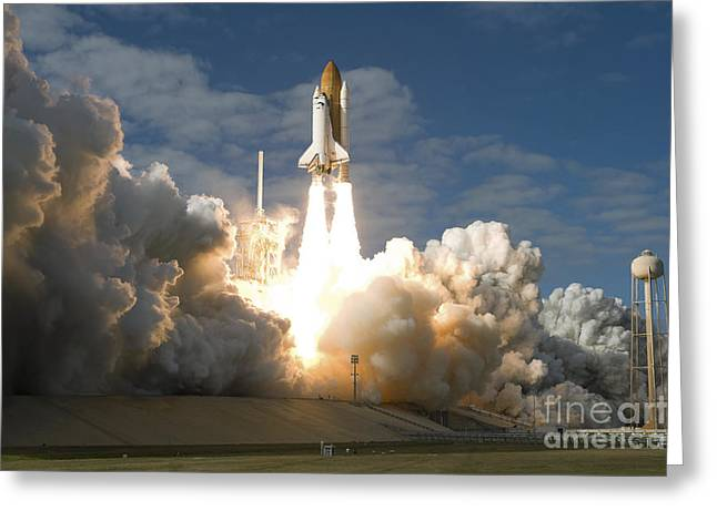 Billowing Greeting Cards - Space Shuttle Atlantis Lifts Greeting Card by Stocktrek Images