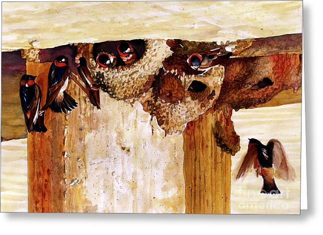 #250 Cliff Swallows Greeting Card by William Lum