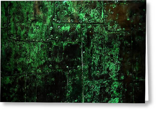 Copper Patina Greeting Cards - 2525 AD Copper Wall 02 Greeting Card by Nilla Haluska