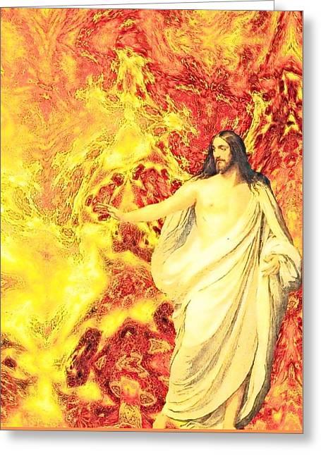 Religious Art Greeting Cards - Jesus Christ - Religious Art Greeting Card by Elena Kosvincheva