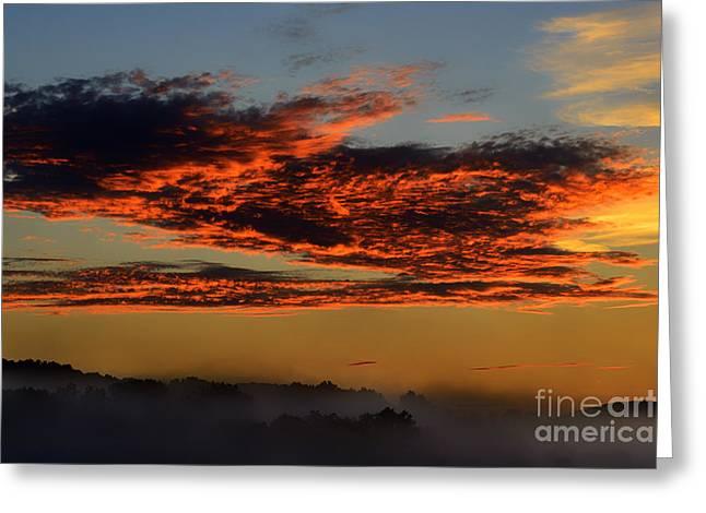 Misty Mountain Sunrise Greeting Card by Thomas R Fletcher
