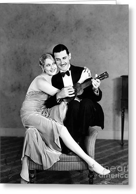 Ukelele Greeting Cards - Silent Film Still: Couples Greeting Card by Granger