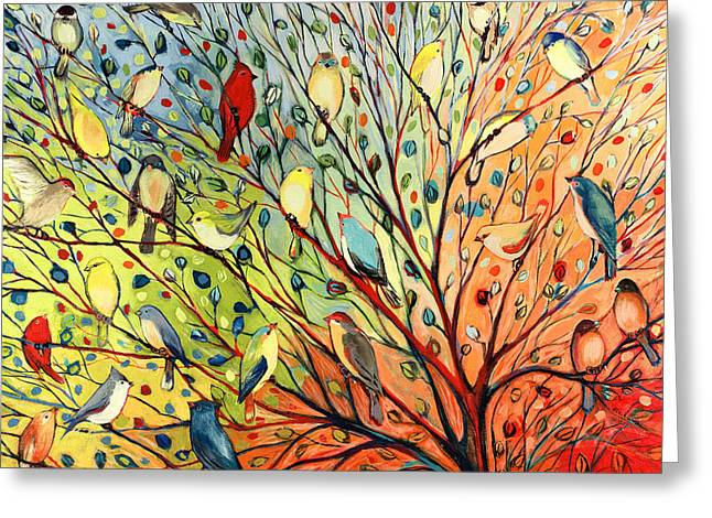 Blue Green Greeting Cards - 27 Birds Greeting Card by Jennifer Lommers