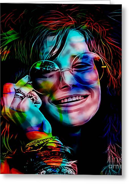 Blues Greeting Cards - Janis Joplin Collection Greeting Card by Marvin Blaine