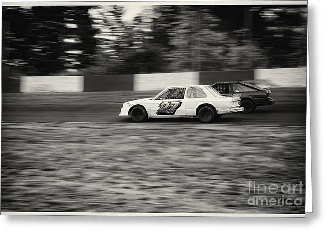 Racecar Number Greeting Cards - 27 On The Speedway Greeting Card by Wayne Wilton