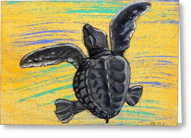 Hawksbill Sea Turtle Greeting Cards - Sea Turtle Greeting Card by W Gilroy