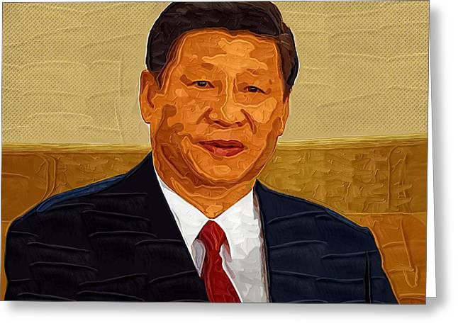 Lakers Greeting Cards - Xi Jinping Portrait Greeting Card by Victor Gladkiy