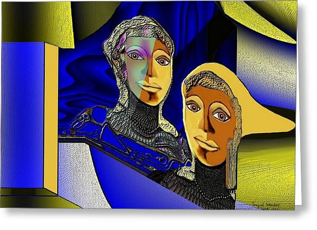 Ladys Greeting Cards - 287 - Blue Golden Ladies basic 1 Greeting Card by Irmgard Schoendorf Welch