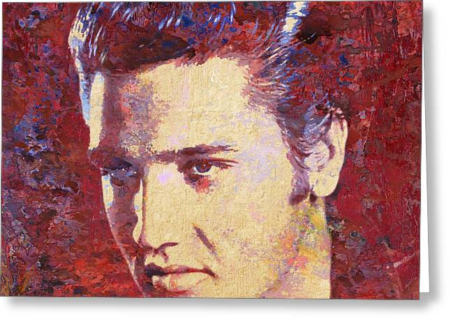 Love Me Tender Greeting Cards - Elvis Presley Greeting Card by Michael Vicin