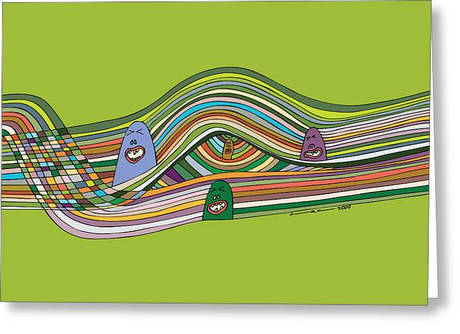 Color Green Drawings Greeting Cards - Line Faces Greeting Card by Karl Addison