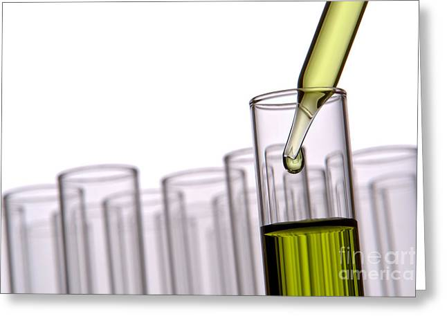 Scientific Experiment In Science Research Lab Greeting Card by Olivier Le Queinec