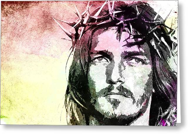 Best Sellers -  - Religious Greeting Cards - Jesus Christ - Religious Art Greeting Card by Elena Kosvincheva