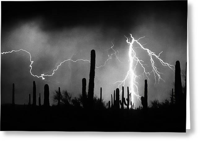 Arizona Lightning Greeting Cards - 2nd Shot - 1 Shoot  BW Version Greeting Card by James BO  Insogna