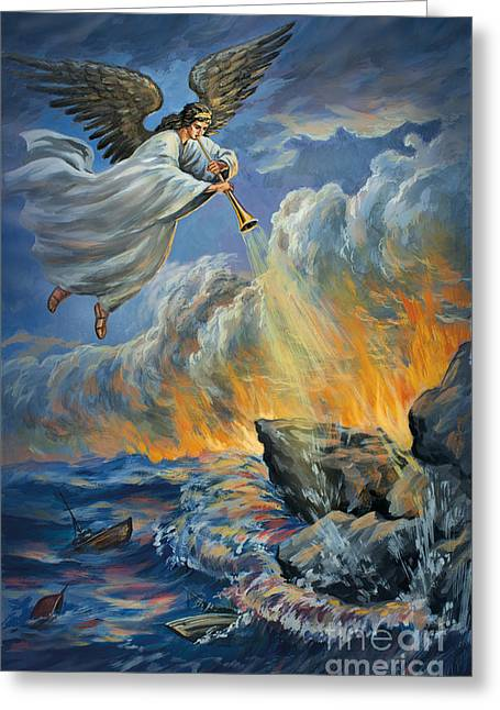 The Leaver Greeting Cards - Original Painting 2nd Trumpet Angel Revelation Eight Eight Nine Signed Greeting Card by Vigovsky