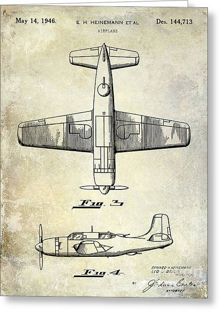 Stearman Greeting Cards - 1946 Airplane Patent Greeting Card by Jon Neidert