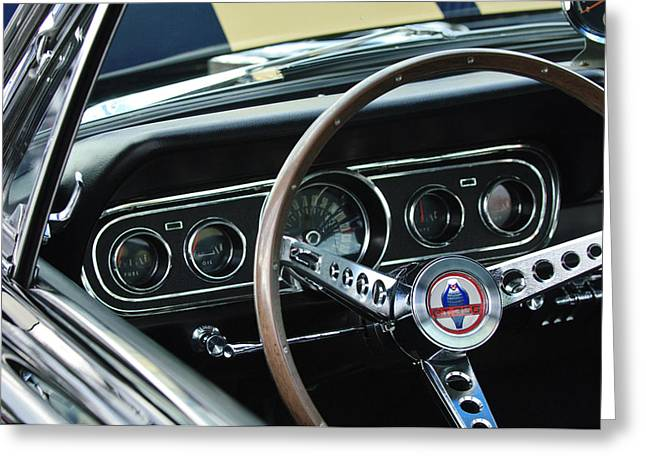 Steering Greeting Cards - 1966 Ford Mustang Cobra Steering Wheel Greeting Card by Jill Reger