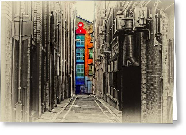 Long Street Greeting Cards - A digitally constructed antique style painting of an inner city back alleyway Greeting Card by Ken Biggs