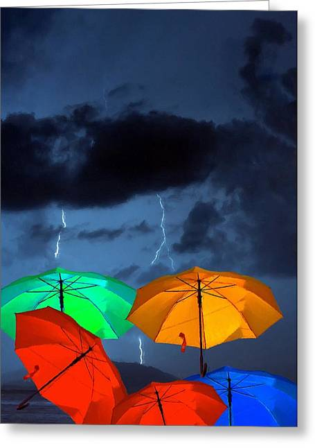 Abstract Digital Paintings Greeting Cards - A digitally constructed painting of colorful umbrellas against a stormy sky Greeting Card by Ken Biggs