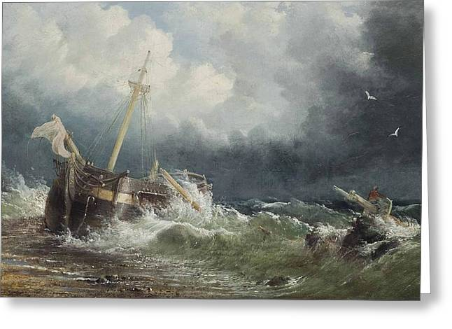 A Dismasted Merchant Vessel Wrecked On The Beach Greeting Card by James Webb