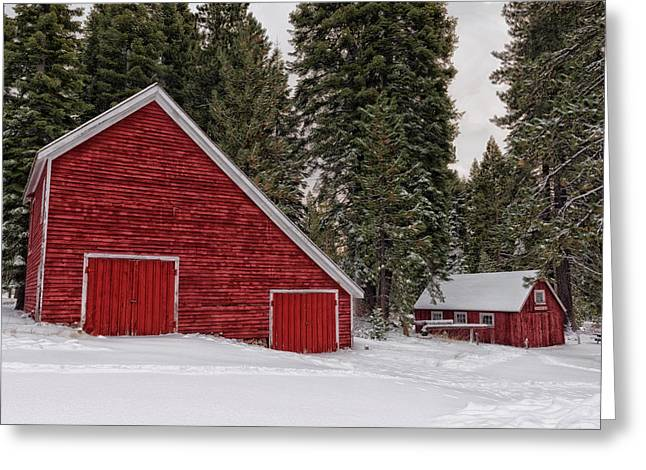 Wood Shed Greeting Cards - A Farm In Winter - California Greeting Card by Mountain Dreams