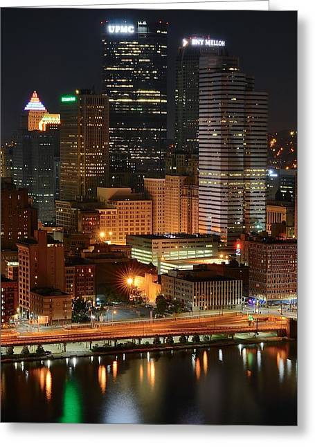 A Pittsburgh Night Greeting Card by Frozen in Time Fine Art Photography