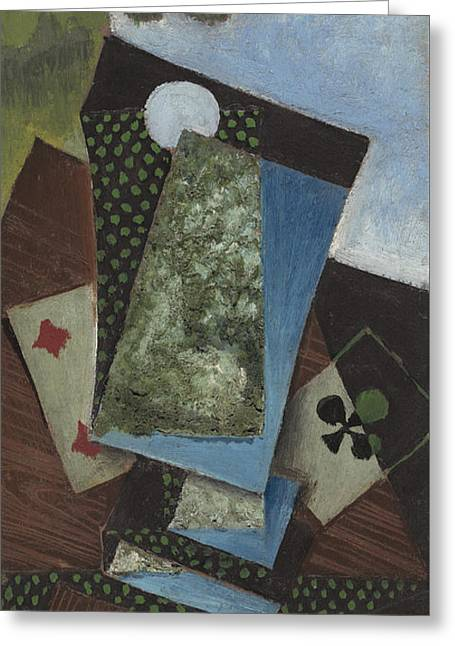 Ace Of Clubs And Four Of Diamonds Greeting Card by Juan Gris