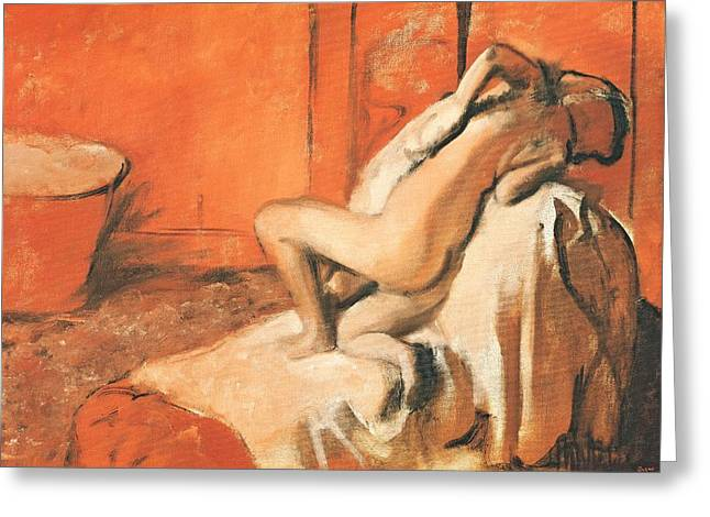 Edgar Degas Pastels Greeting Cards - After the Bath Greeting Card by Edgar Degas