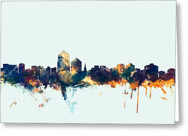 New Mexico Digital Greeting Cards - Albuquerque New Mexico Skyline Greeting Card by Michael Tompsett