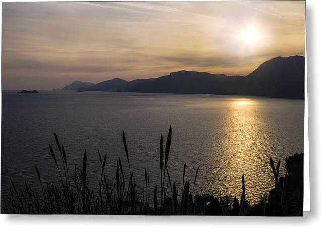 Italian Sunset Greeting Cards - Amalfi Coast Greeting Card by Joana Kruse