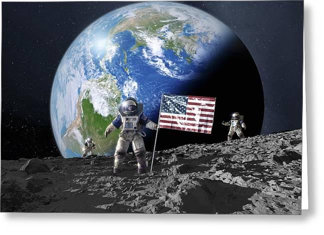 Symbolizes Greeting Cards - Americans On The Moon, Artwork Greeting Card by Detlev van Ravenswaay