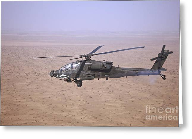 Tikrit Greeting Cards - An Ah-64d Apache Longbow Fires A Hydra Greeting Card by Terry Moore