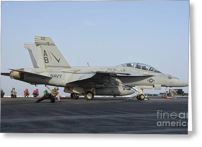 211 Greeting Cards - An Fa-18f Super Hornet Ready To Launch Greeting Card by Giovanni Colla