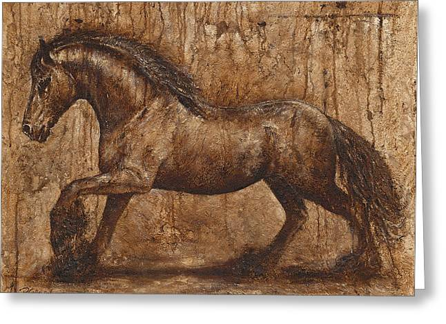Old Masters Mixed Media Greeting Cards - Ancient glory Greeting Card by Paula Collewijn -  The Art of Horses