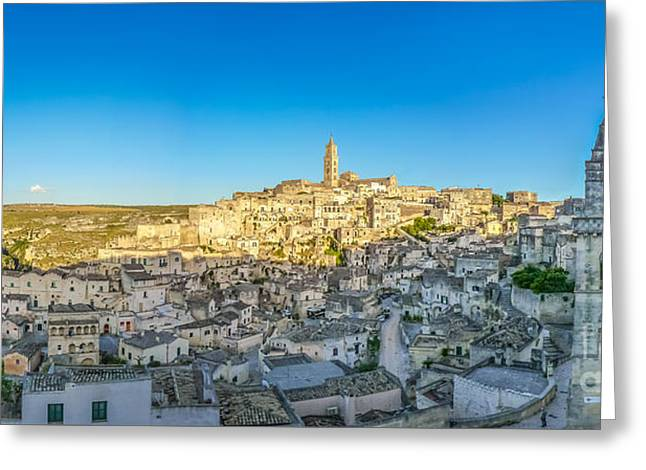 Italian Sunset Greeting Cards - Ancient town of Matera at sunset, Basilicata, Italy Greeting Card by JR Photography