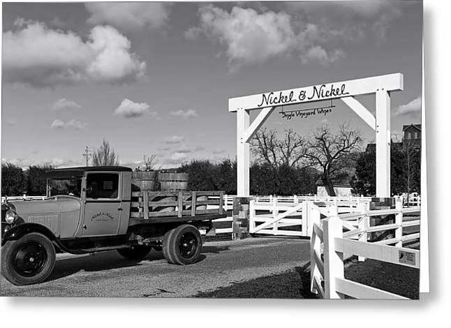 Nickel Greeting Cards - Antique Truck At The Entrance To Nickel And Nickel Winery Greeting Card by Mountain Dreams