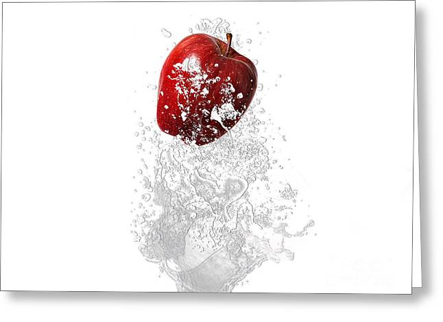 Apple Splash Greeting Card by Marvin Blaine