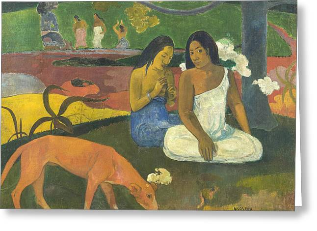 Gauguin Style Greeting Cards - Arearea Greeting Card by Paul Gauguin