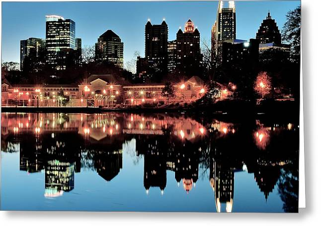 Night Hawk Greeting Cards - Atlanta From Piedmont Park Greeting Card by Frozen in Time Fine Art Photography