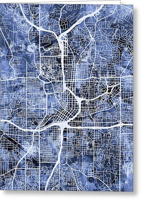 Streets Digital Greeting Cards - Atlanta Georgia City Map Greeting Card by Michael Tompsett