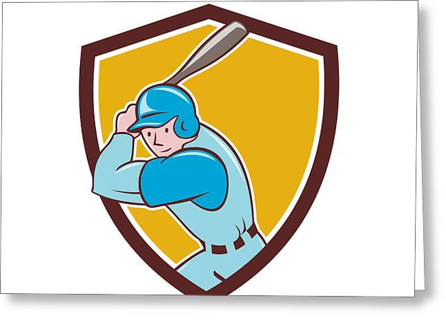 Batting Helmet Greeting Cards - Baseball Player Batting Shield Cartoon Greeting Card by Aloysius Patrimonio