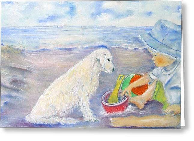 Garden Scene Pastels Greeting Cards - Beach Boy Greeting Card by Loretta Luglio
