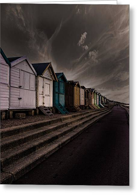 Leading Lines Greeting Cards - Beach Huts Greeting Card by Martin Newman
