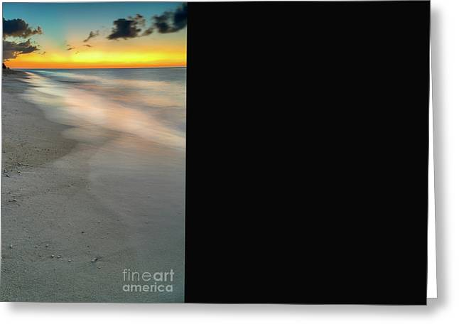Sunset Seascape Greeting Cards - Sunset at the Beach Greeting Card by Adrian Evans